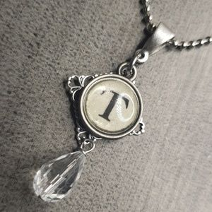 Jewelry - Alphabet initial T typewriter charm necklace